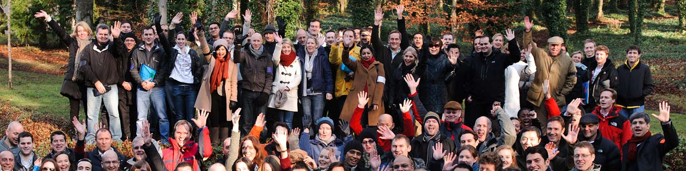 DC Events - a large group of waving participants in Guildford, Epsom, Woking, Farnham, Surrey